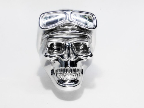Chrome Aluminum Biker Skull Shifter Handle Knob Column & Floor Shift Ford Mopar