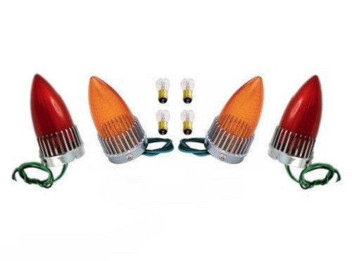 1959 Cadillac 59 Caddy Taillight Brake Stop Lamp Red Amber Lens Bulb Assembly Set of 4