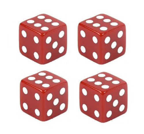 Red Dice White Dots Tire Valve Stem Caps Covers Set of 4 Car Truck Hot Rat Rod