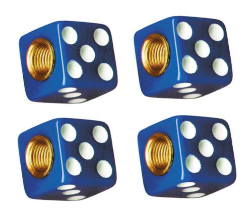 Blue Dice White Dots Tire Valve Stem Caps Covers Set of 4 Car Truck Hot Rat Rod