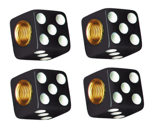 Black Dice White Dots Tire Valve Stem Caps Covers Set of 4 Car Truck Hot Rat Rod