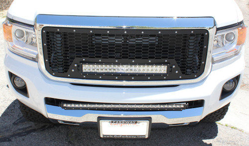 "15 16 17 GMC Canyon Custom Black Mesh Aluminum Grille & 21"" Cree Led LightBar with Wiring Harness & Stainless Bolts"