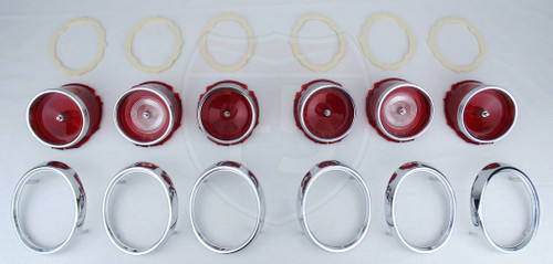 65 1965 Chevy Impala & Caprice Tail Light Backup Lens Chrome Bezel Assembly Kit