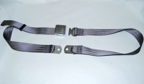 "74"" DARK GRAY CHARCOAL LAP SAFETY SEAT BELT CHROME BUCKLE LATCH"