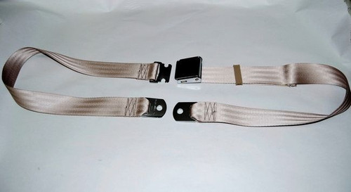 "74"" TAN LAP SAFETY SEAT BELT CHROME BUCKLE LATCH"