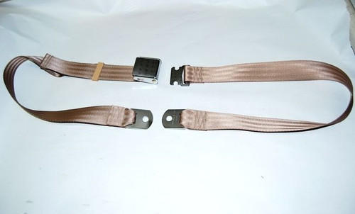 "74"" LIGHT BROWN LAP SAFETY SEAT BELT CHROME BUCKLE"
