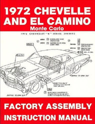 72 1972 CHEVELLE EL CAMINO FACTORY ASSEMBLY MANUAL BOOK