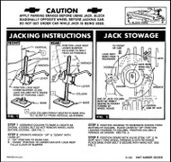 63 Chevy Impala Bel Air Biscayne Spare Tire & Jacking Instructions 1963