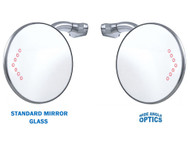 "4"" CONVEX LED Curved Arm Peep Mirror Turn Signal Outside Rear View Hot Rod Pair"
