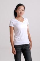 White Organic Bamboo Fibre V-Neck T-Shirt