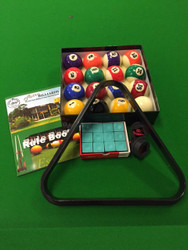 "2"" inch KELLY POOL BALLS, TRIANGLE, CHALK, HOLDERS & RULE BOOK PACKAGE -  Pool Snooker Billiard Balls"
