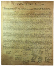 """Declaration of Independence High End Artist Distressed Reproduction  • Paper: 100% cotton rag  • Artist distressed print  • Ink:  Archival pigmented  • Authentic sized reproduction:  24.25""""x29.75"""""""