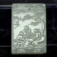 sale: Chinese Light Green Carved Nephrite Jade Plaque Pendant #2505