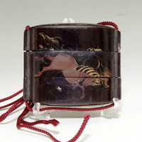 INRO Small Antique Japanese Lacquer Wooden Nest Box in Edo #621