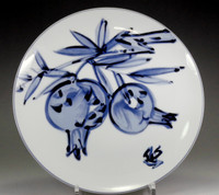sale: Japanese Blue and White Porcelain plate by Kondo Yuzo