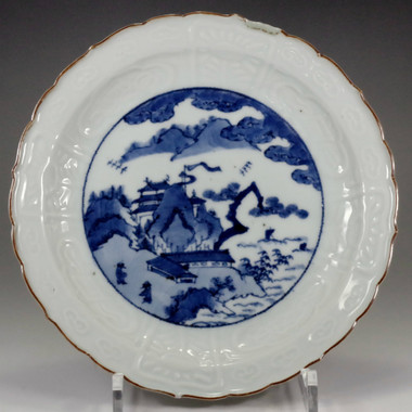 sale: Old Imari - Antique Japanese Blue and White Porcelain Plate in Edo Era