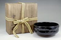 Kuro raku chawan / Japanese pottery bowl w Box by 12th Raku konyu #2675