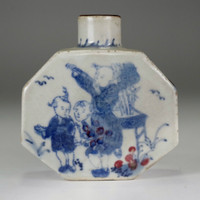 Small antique Chinese blue and pot w/ Wanli official porcelain mark #2720