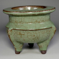 sale: Tripod Olive Green Chinese Pottery Incense Burner