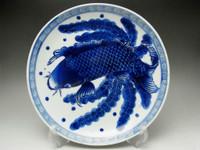OLD IMARI Antique Japanese Blue and White Porcelain Plate in Meiji - Carp #1542