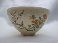 CHAWAN Vintage Japanese Kyo Pottery Tea Ceremony Bowl w Wooden Box #415