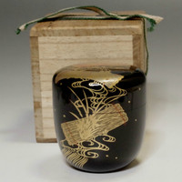 sale: Natsume Japanese Tea Ceremony Gold Lacquered Wooden Tea Caddy w/Box