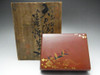 Antique Coral Red Japanese Gold Lacquer Box in Meiji