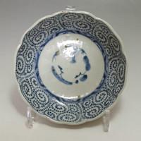 OLD IMARI Antique Japanese Blue and White Porcelain Plate in Edo - Karakusa