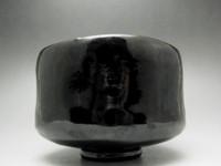 RAKU CHAWAN Modern Black Japanese Kyo Pottery Tea Ceremony Bowl #1367