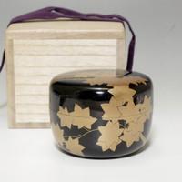 HIRA NATSUME Japanese Gold Lacquered Tea Caddy w/box