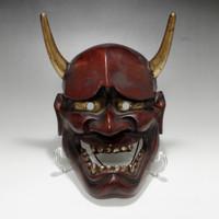 sale: Hannya - Vintage Japanese Lacquered Wooden Noh Mask
