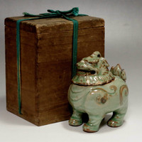 Antique Chinese Longquan Celadon Incense Burner w Box #2066