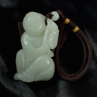 sale: Light Green Chinese Natural Nephrite Jade Child Statue w/Strap