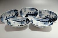 sale: OLD IMARI - Set of 5 Antique Japanese Fine Porcelain Serving Plates #2203