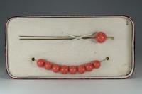 sale: KANZASHI - Vintage Japanese hair pin w 9 coral beads