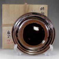 sasle: Hamada Shoji - Kaki-yu glazed mashiko pottery bowl w signed box #2365