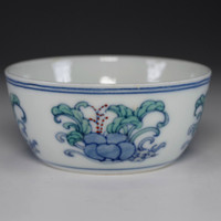 sale: Small Chinese doucai cup w Chenghua official porcelain mark #2371