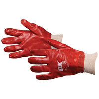 Ox Pro Red PVC Knit Wrist Gloves