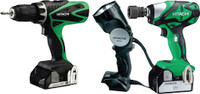 Hitachi KTL318WR/JF 18 Volt Combi Drill / Impact Wrench Kit With 2 x 2.5Ah Li-Ion Batteries  & Torch