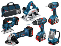 Bosch BAG+6DS 18v 6 Piece Cordless Tool Kit with 3 x 4.0Ah in Bag