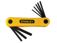 Stanley Hexagon Key Folding Set of 9 Imperial (1/4 - 9/64in)