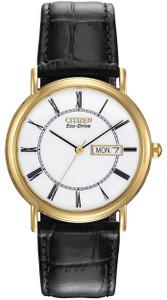 Citizen Men's Black Leather White Dial Eco-Drive Watch BM8242-16A