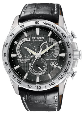 Citizen Radio Controlled Eco Drive Black Leather Strap Perpetual Calendar Watch AT4000-02E