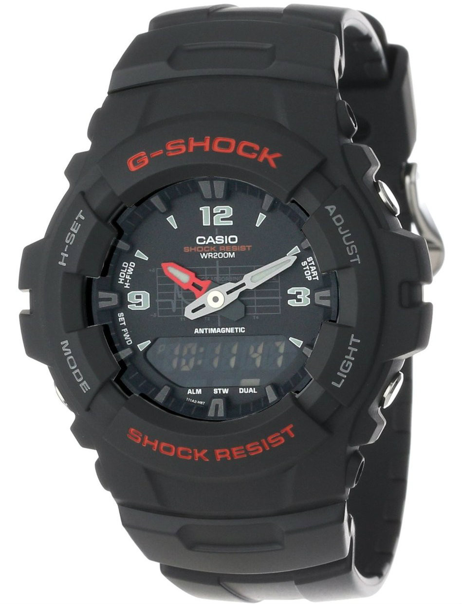 Product Review - Casio G-Shock black chronograph dual display watch G-100-1BVMUR