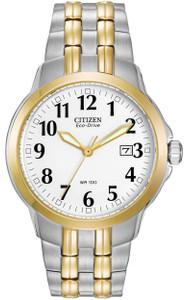 Citizen Men's Two-Tone White Dial Bracelet Eco-Drive Watch BM7094-50A