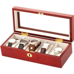 Mele And Co Lockable Watch Box For 5 Watches Mahagony