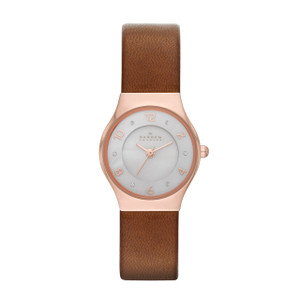 Skagen Ladies' Brown Leather Strap Rose Gold Case Grenen Watch SKW2210
