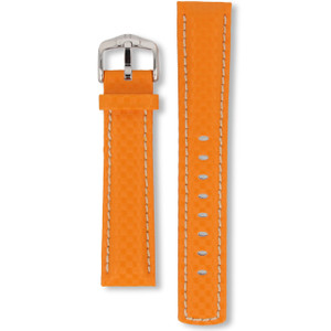 Hirsch Carbon Replacement Watch Strap Orange Genuine High-Tech Leather 20mm