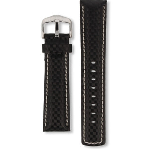 Hirsch Carbon Replacement Watch Strap Black Genuine High-Tech Leather 22mm