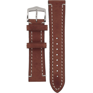 Hirsch Liberty Replacement Watch Strap Brown Genuine Textured Leather 22mm
